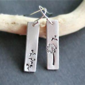 """""""Let Go"""" Dandelion Seed Boho/Indie Bar Earrings"""